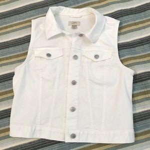Loft white denim vest
